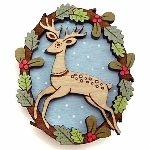 LAYLA AMBER 'LEAPING DEER' BROOCH