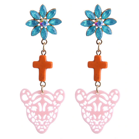 sugar earrings 'leopard cross dangles' teal, orange & pale pink