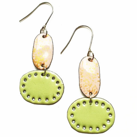 denz & co. earrings copper enamel 'lichen & marshmallow'
