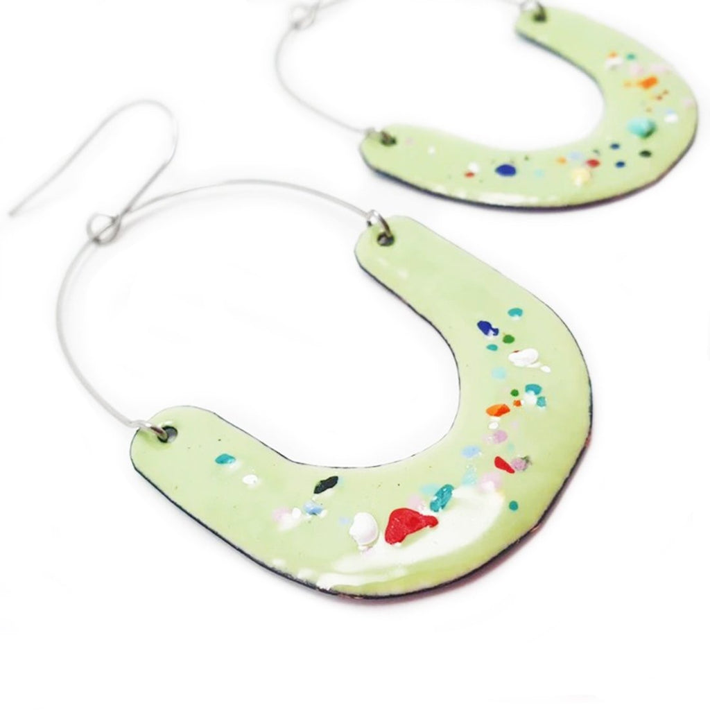denz & co. earrings copper enamel 'upside dangles' lichen