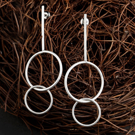 sugar earrings silver 'vintage linked circle bar drops'