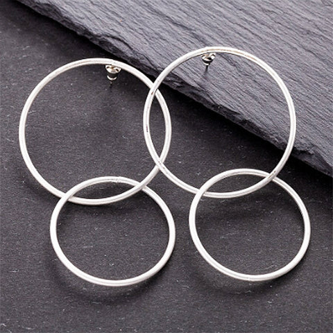 sugar earrings silver 'double linked circles'