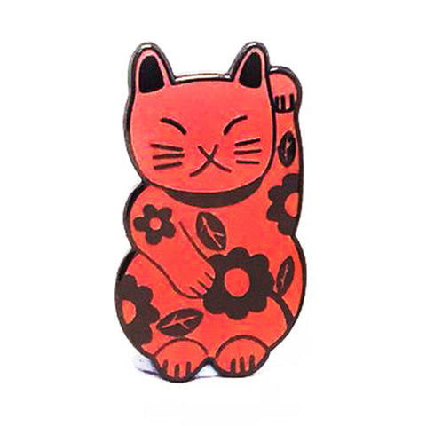 blossom and cat enamel pin 'lucky cat' pink & black