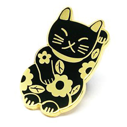 blossom and cat enamel pin 'lucky cat' black & gold