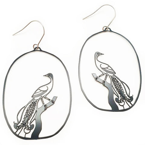 denz & co. earrings 'lyre bird dangles' black