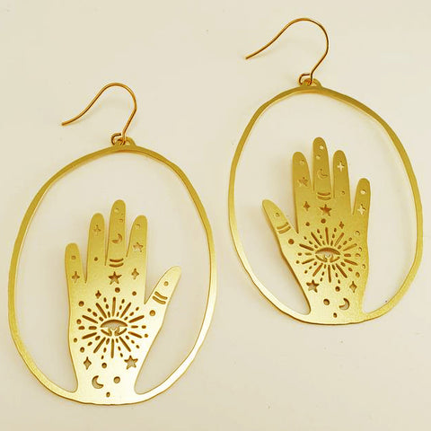 denz & co. earrings 'magic hand dangles' gold