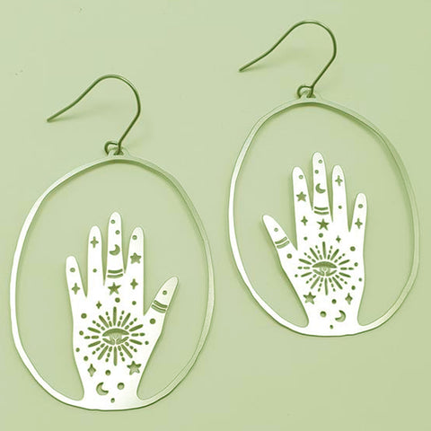 denz & co. earrings 'magic hands dangles' silver