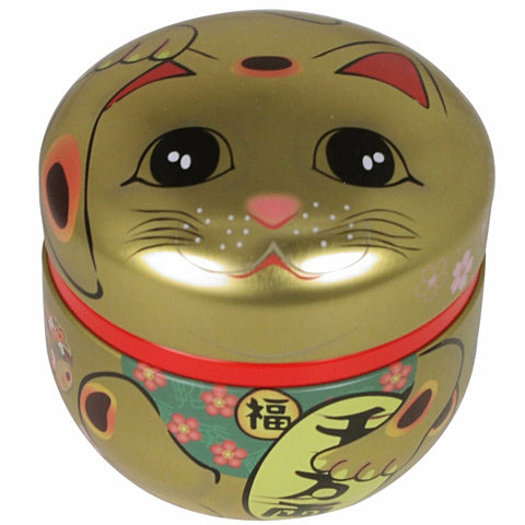 concept japan tea canister 'suzuko lucky cat' gold