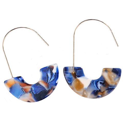 sugar earrings resin 'marbled u-drops' blue & white