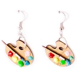 martinis & slippers earrings 'paint palette'