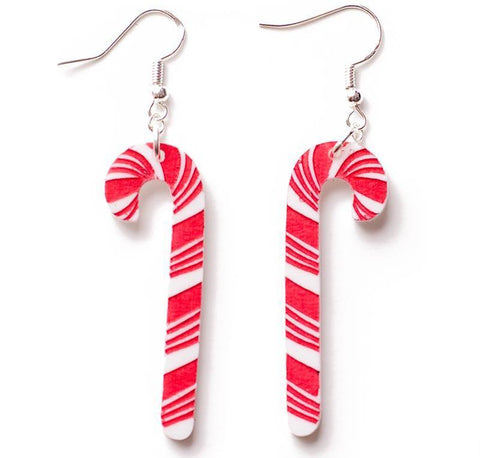 martinis & slippers earrings 'christmas candy cane'