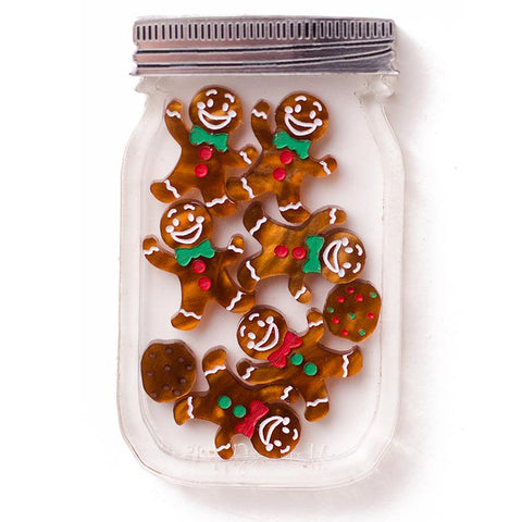 martinis & slippers brooch 'christmas gingerbread cookie jar' - the-tangerine-fox