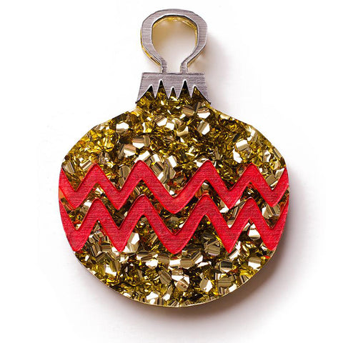martinis & slippers brooch 'retro gold round christmas bauble'