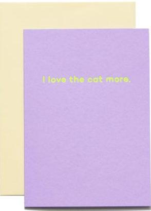 mean mail greeting card 'i love the cat more'