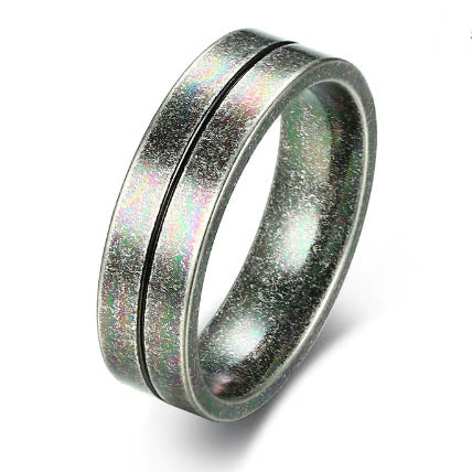 men's ring 'narrow striped band' oxidised silver