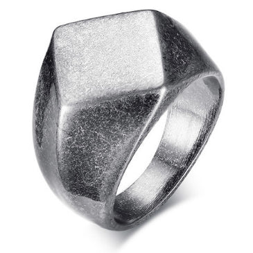 men's ring 'diamond signet' vintage silver