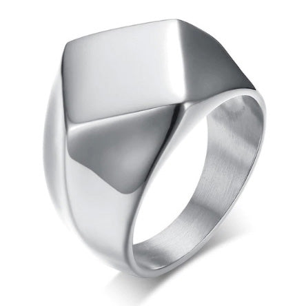 men's ring 'diamond signet' silver - the-tangerine-fox