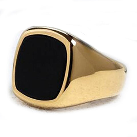 men's ring 'black enamel signet' gold