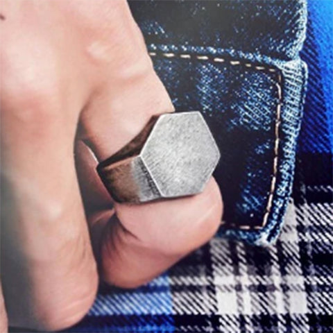 men's stainless steel signet ring 'hexagon' oxidised silver