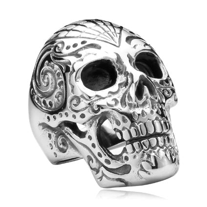 men's ring 'skull with web' silver