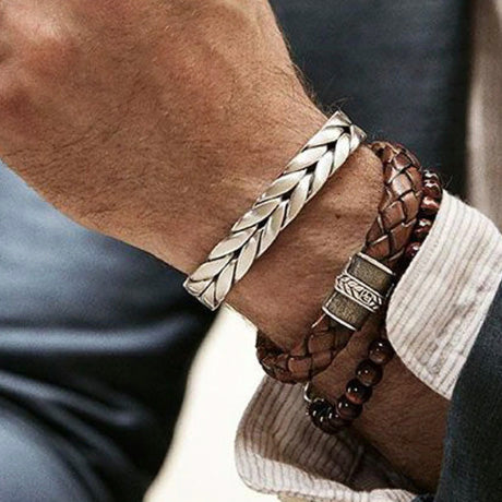 men's bracelet 'plaited cuff' silver