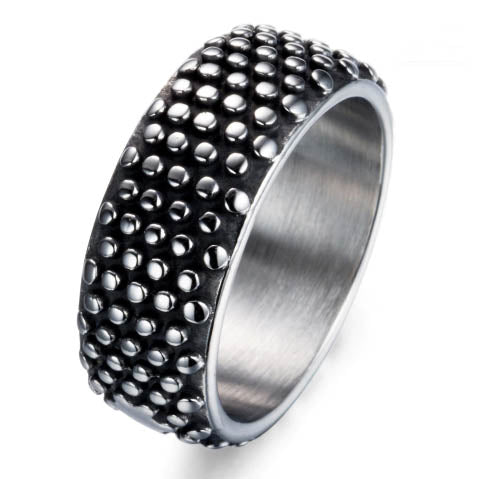 men's ring 'studded dome band' vintage silver & black