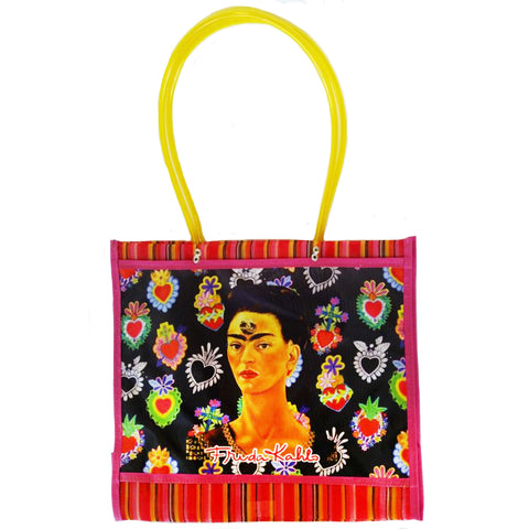 mexican 'mercado frida hearts' mesh bag