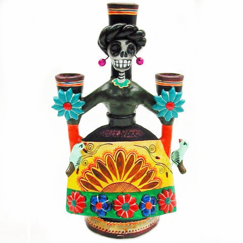 mexican candle holder 'day of the dead la catrina'