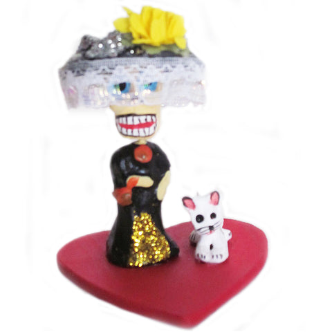 mexican figurine 'day of the dead lady & pet'