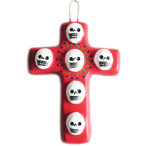 mexican wall cross 'clay skulls' mini red