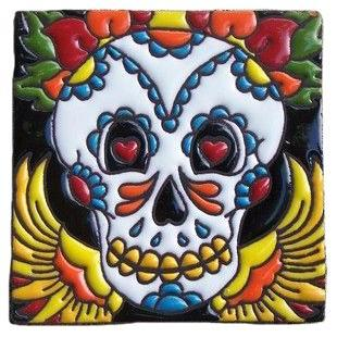 mexican talavera tile 'day of the dead skull with wings'