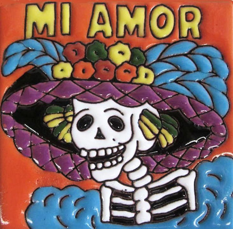 mexican talavera tile 'day of the dead mi amor'
