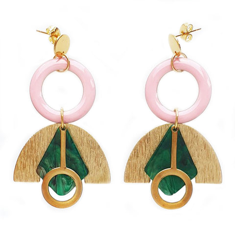 middle child earrings 'stardust' pink & green