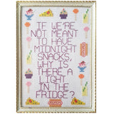 framed cross stitch 'midnight snacks ...'