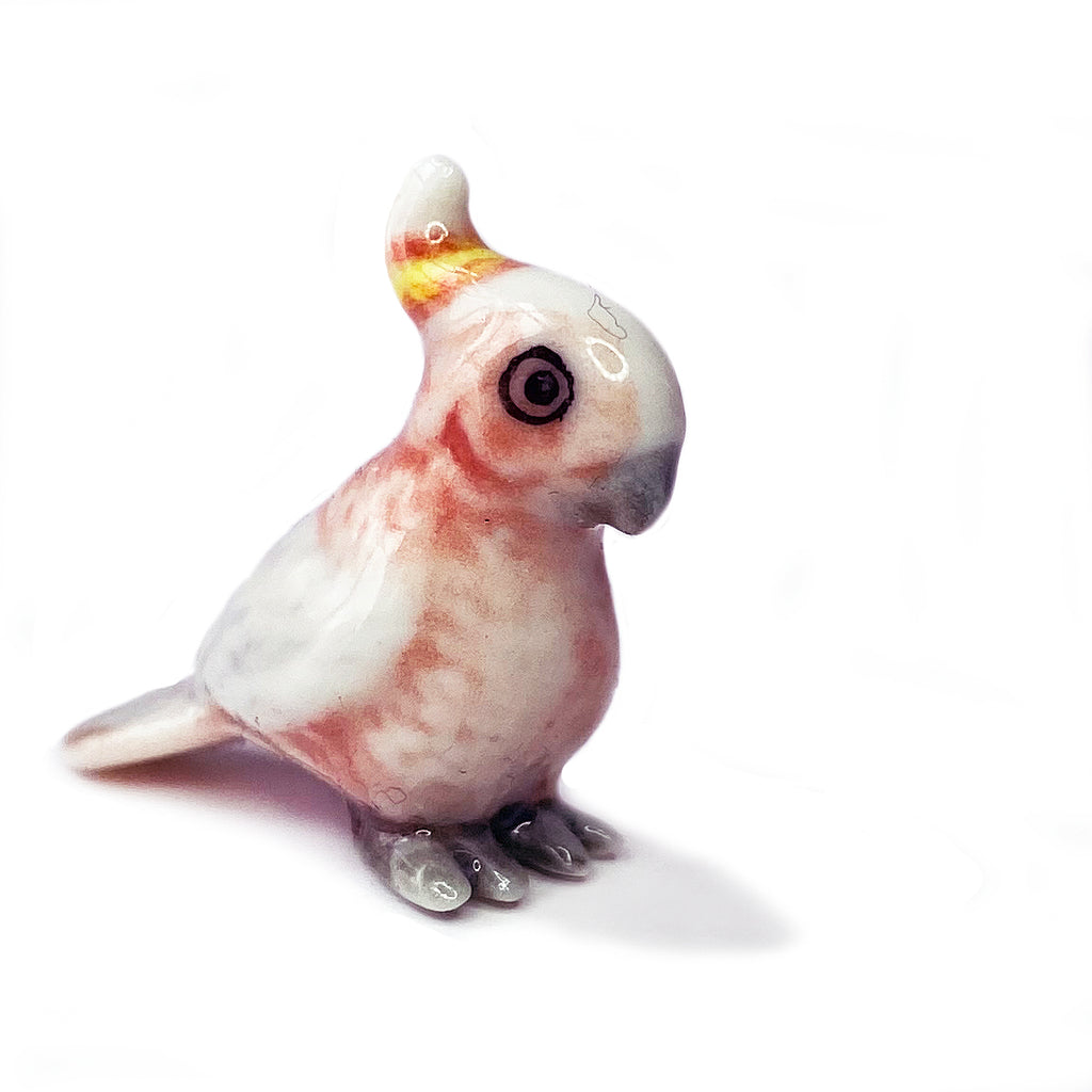 miniature ceramic 'pink cockatoo'