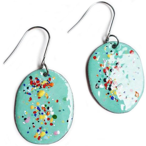 denz & co. earrings copper enamel 'oval dangles' mint speckles