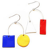 denz & co. earrings 'mismatched enamel' blue yellow white & red