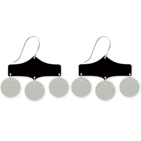 moe moe earrings 'black three circle drops'