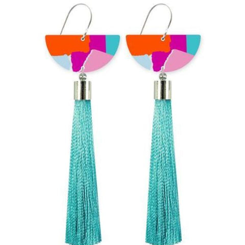 moe moe earrings 'bright leah moon tassel drops'