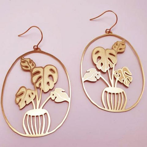 denz & co. earrings 'monstera dangles' gold