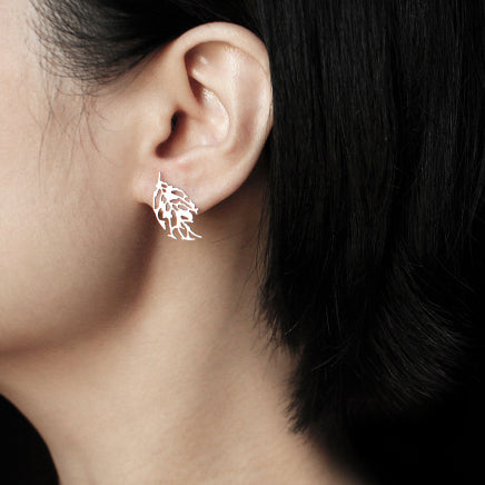 moorigin earrings 'skeleton leaf' silver extra small