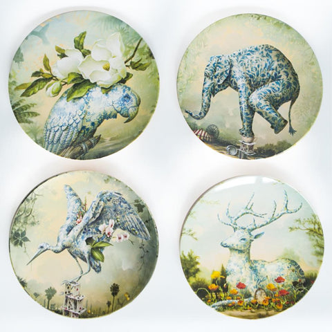 la la land melamine plate set 'the delicate garden'
