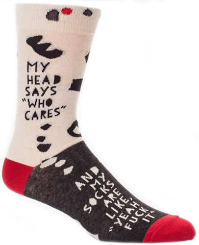 blue q men's socks 'my head says who cares ...' '