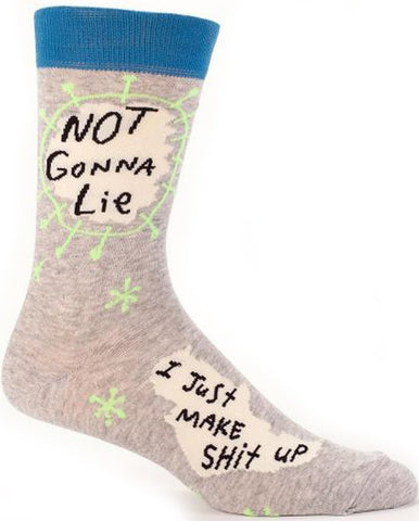 BLUE Q MEN'S SOCKS 'NOT GONNA LIE, I JUST MAKE SH*T UP'