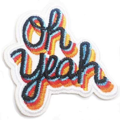 embroidered iron-on patch 'oh yeah'