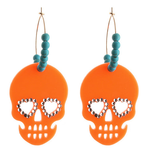 sugar earrings 'heart eyed skull hoops' orange & turquoise