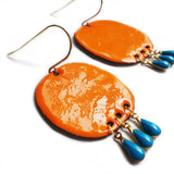 denz & co. earrings copper enamel 'oval dangles' orange & teal drops
