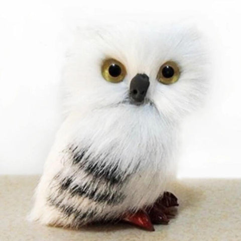 figurine 'faux fur owl' white