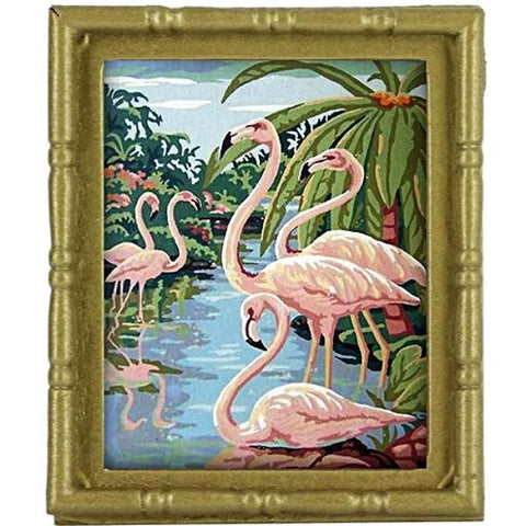 miniature picture frame 'vintage flamingo' painting matte gold