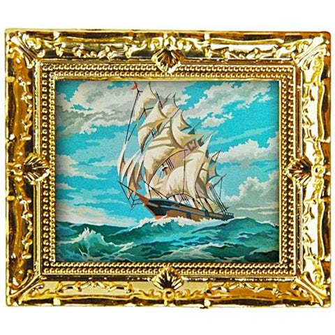miniature picture frame 'kitsch tall ship' painting' gold